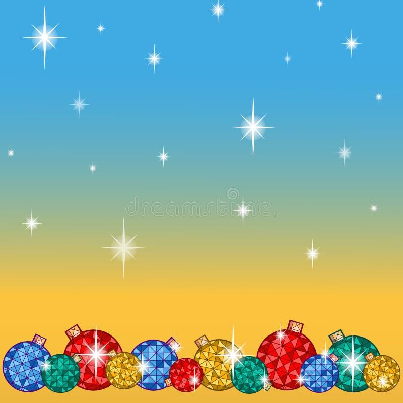贺卡为寒假 在一定数量明亮的圣诞树球下,与雪花和星 向量背景 向量例证