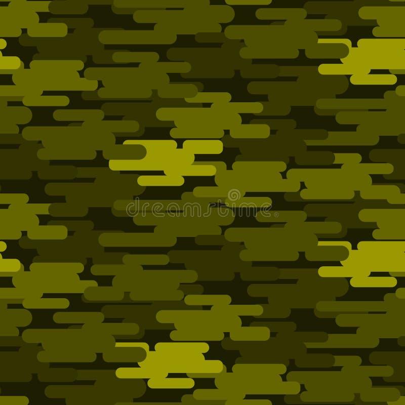 卡其色的军事伪装无缝的样式军队纹理一致的背景和衣物时尚物质绿色战士 向量例证