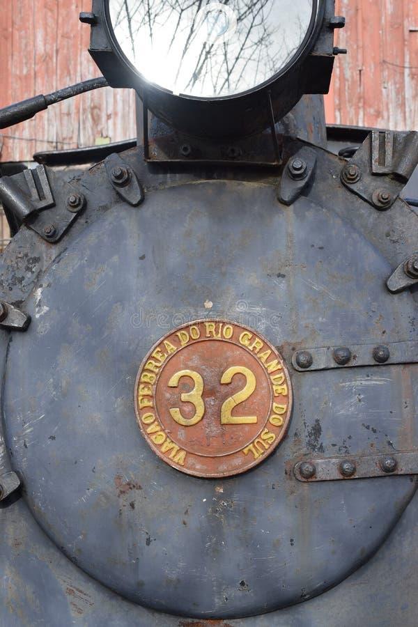 卡内拉一列老蒸汽火车的画象  免版税库存照片