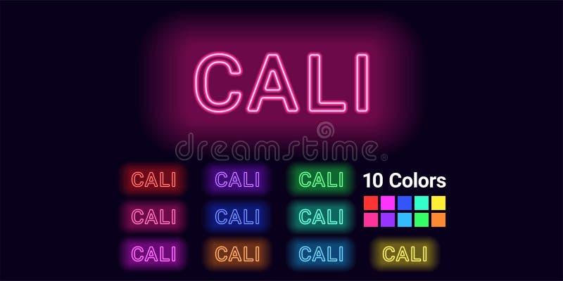 卡利市的霓虹名字 库存例证
