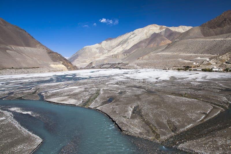 卡利市Gandaki是一条河在尼泊尔,并且印度,离开附庸国  免版税图库摄影