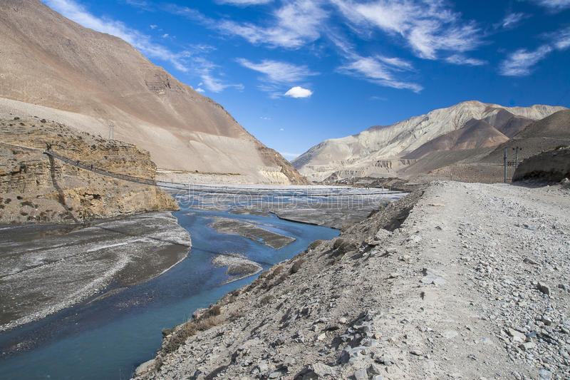 卡利市Gandaki是一条河在尼泊尔,并且印度,离开附庸国  图库摄影