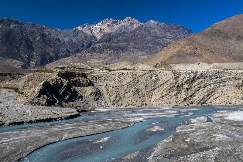 卡利市Gandaki是一条河在尼泊尔,并且印度,离开附庸国  免版税库存照片