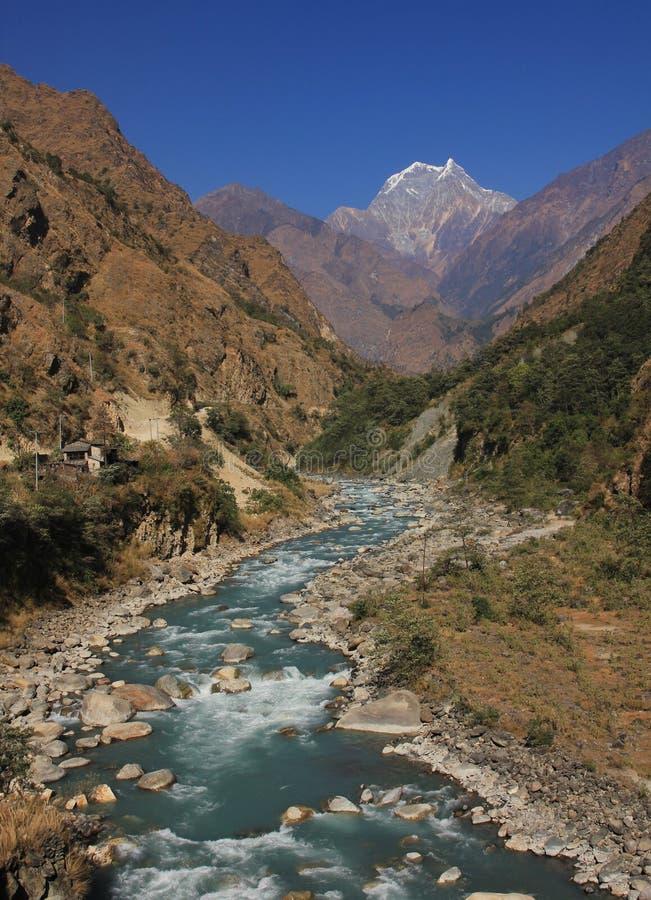卡利市Gandaki河和Nilgiri 免版税库存图片