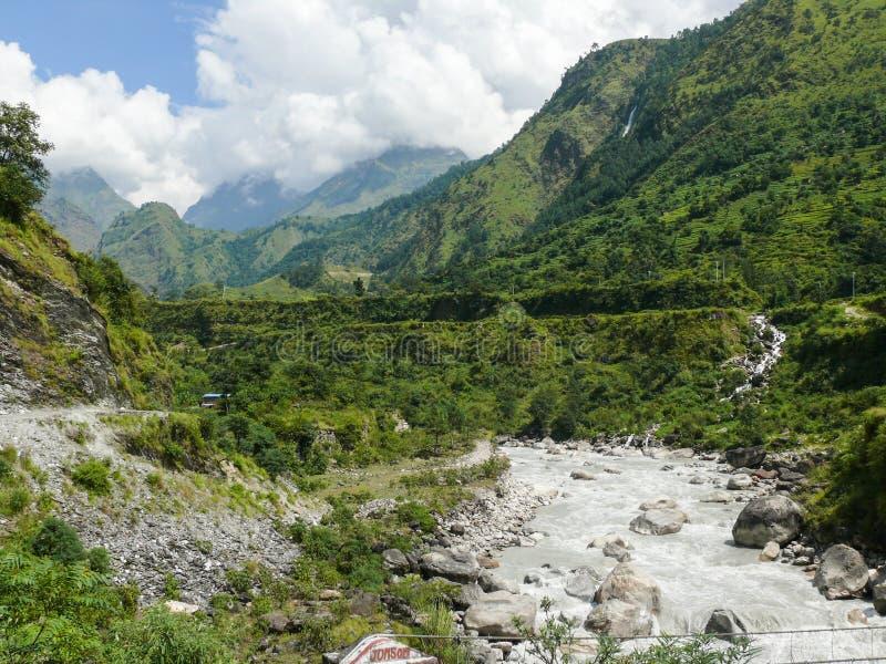 卡利市Gandaki河在Tatopani,尼泊尔 库存照片
