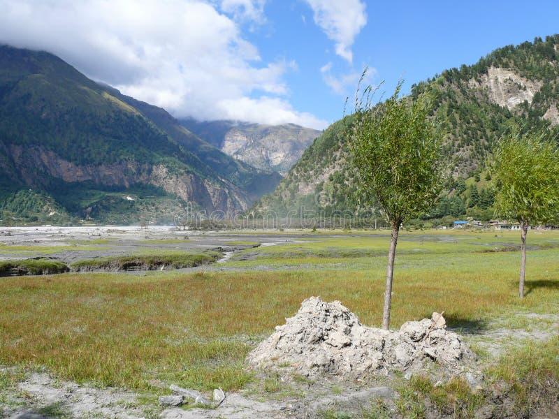 卡利市Gandaki河谷,尼泊尔 图库摄影