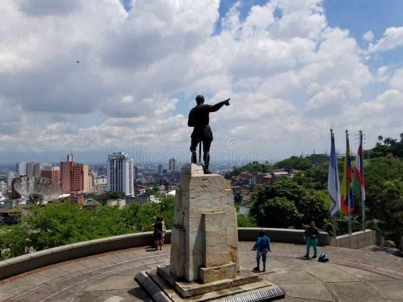 卡利,哥伦比亚-塞巴斯蒂安de Belacalzar雕象 免版税库存图片