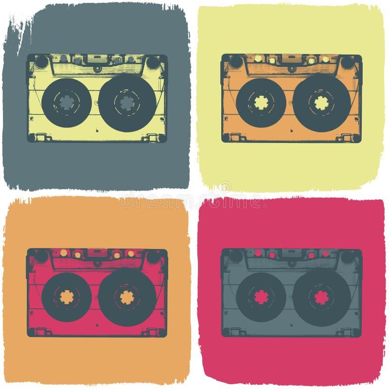 卡型盒式录音机弹出艺术概念。 库存例证