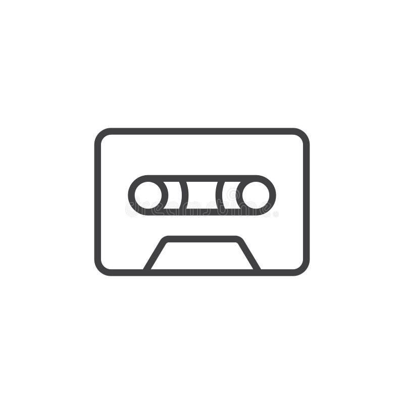 卡型盒式录音机磁带线象,概述传染媒介标志,在白色隔绝的线性样式图表 向量例证