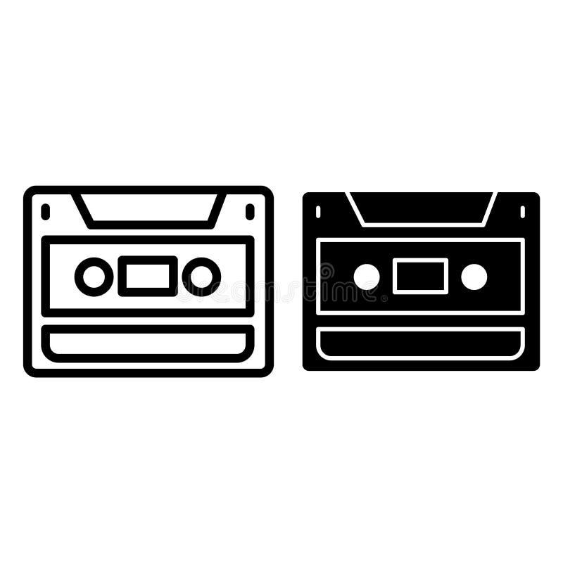 卡型盒式录音机线和纵的沟纹象 录象带在白色隔绝的传染媒介例证 记录器概述样式设计 库存例证