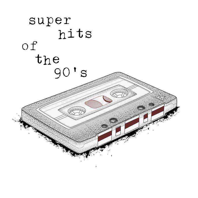 卡型盒式录音机,减速火箭的音乐的标志 20世纪90年代的超级命中 80 皇族释放例证