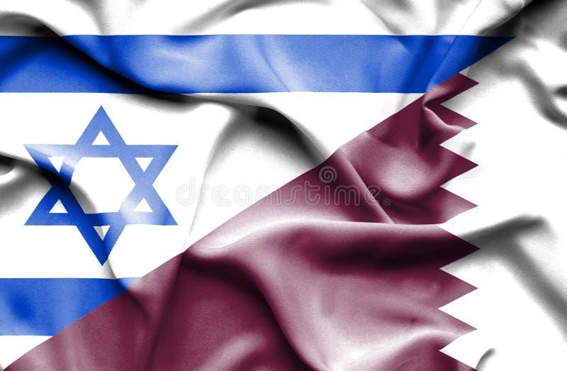 卡塔尔和以色列的挥动的旗子 向量例证