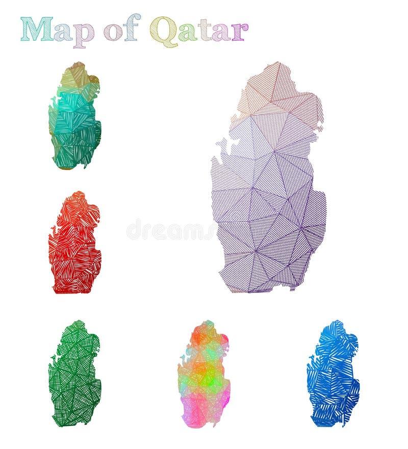 卡塔尔的手拉的地图 皇族释放例证
