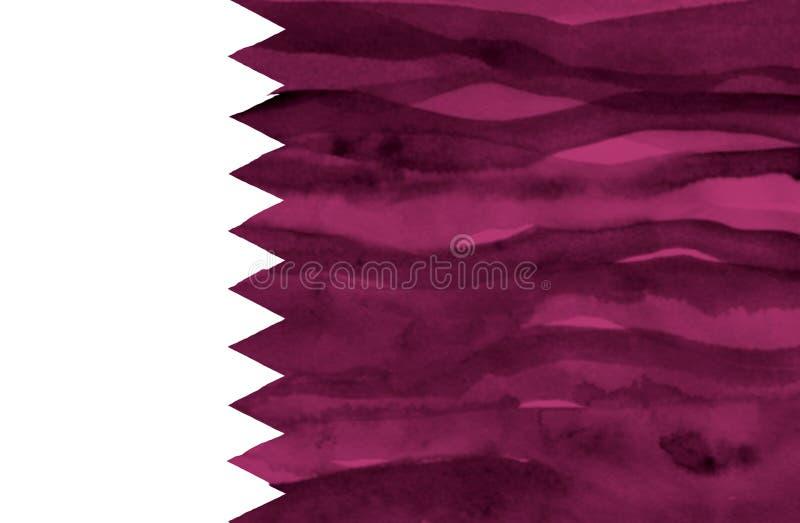 卡塔尔的被绘的旗子 图库摄影