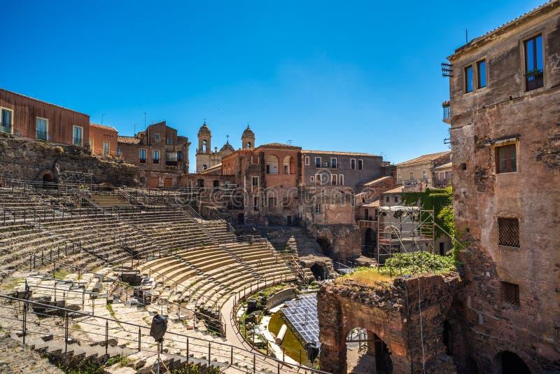 卡塔尼亚罗马剧院在西西里岛,意大利 免版税库存图片
