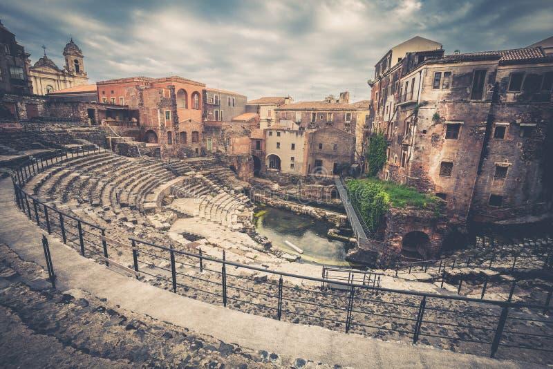 卡塔尼亚,意大利罗马剧院  免版税库存图片