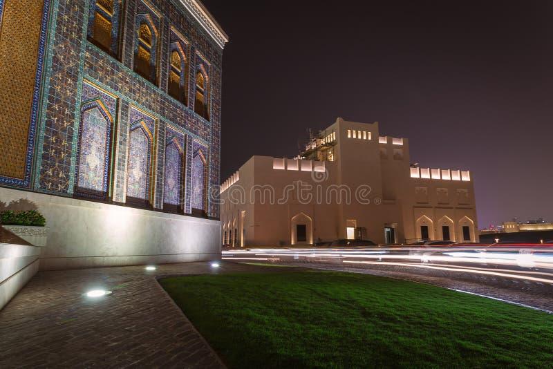 卡塔拉文化村庄在晚上在多哈,卡塔尔 库存图片