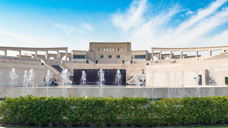 卡塔拉文化村庄多目的大厅圆形剧场,多哈,卡塔尔 免版税库存图片
