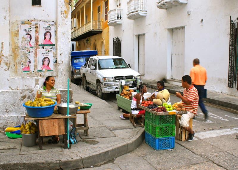 卡塔赫钠哥伦比亚场面街道 免版税库存图片