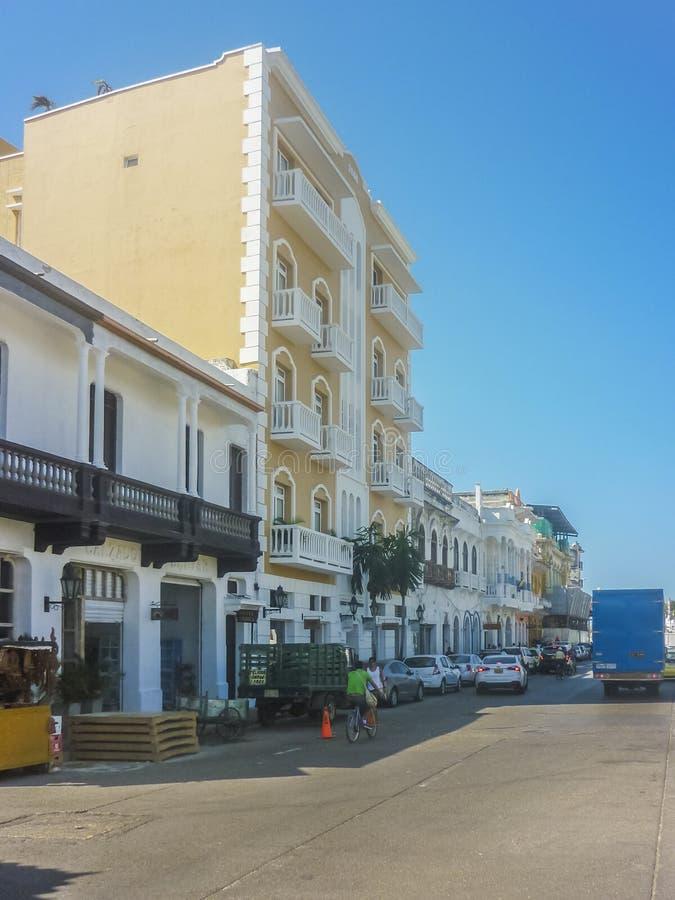 卡塔赫钠哥伦比亚的历史的中心街道  库存照片