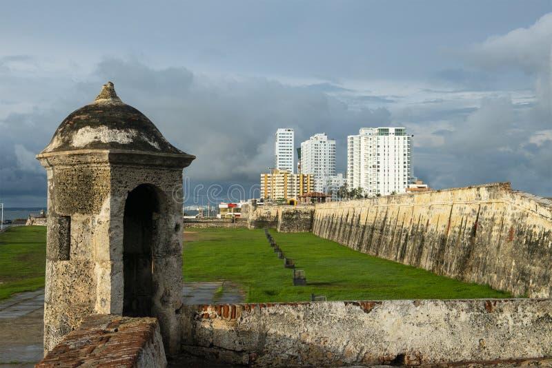 卡塔赫钠哥伦比亚被围住的堡垒城市 免版税库存照片