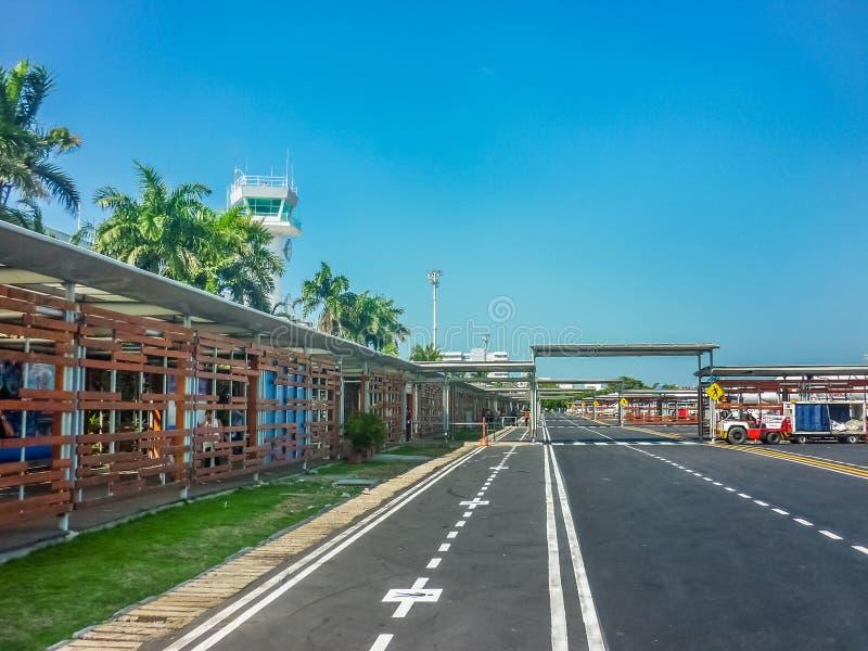 卡塔赫钠机场简易机场外视图 免版税图库摄影