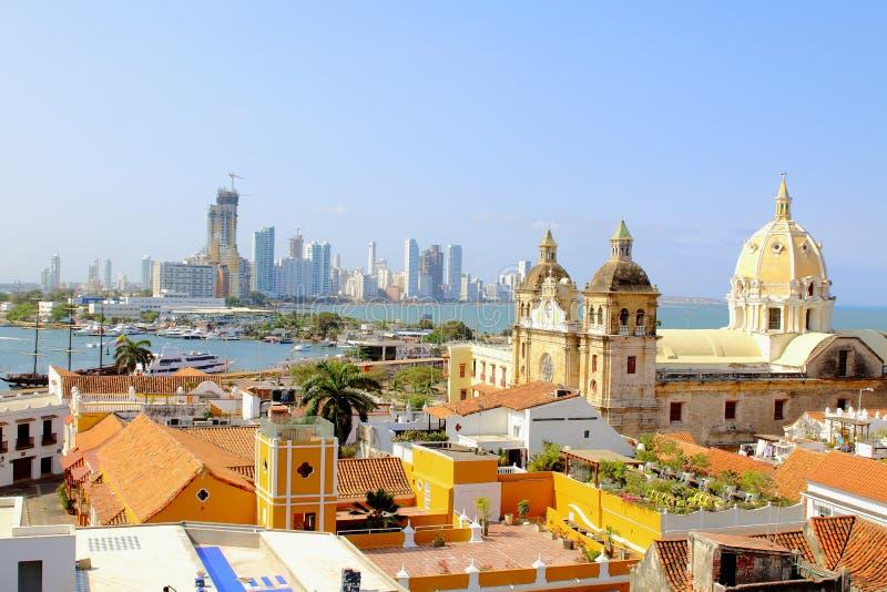 卡塔赫钠,哥伦比亚的历史的中心和加勒比海 免版税库存照片
