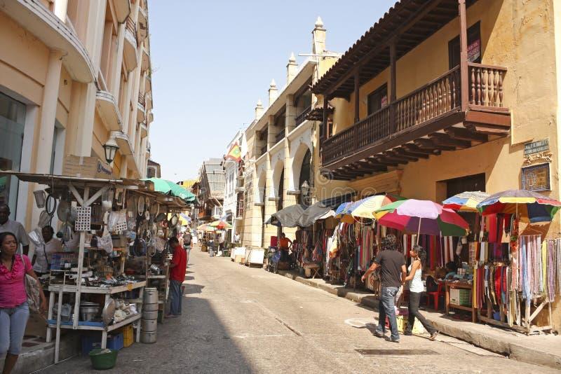 卡塔赫钠de Indias街道  哥伦比亚 库存图片