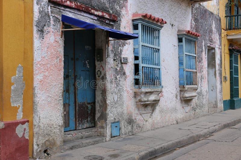 卡塔赫钠de Indias,哥伦比亚街道  免版税库存照片