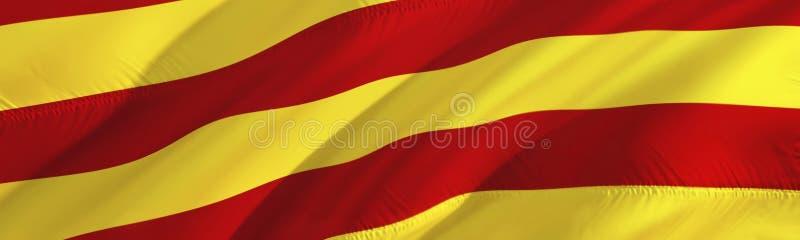 卡塔龙尼亚旗子 巴塞罗那旗子  3D挥动的旗子设计,3D翻译 巴塞罗那背景墙纸的国家标志 3d 免版税库存照片