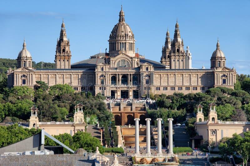 卡塔龙尼亚的全国美术馆Montjuic的在巴塞罗那 库存照片