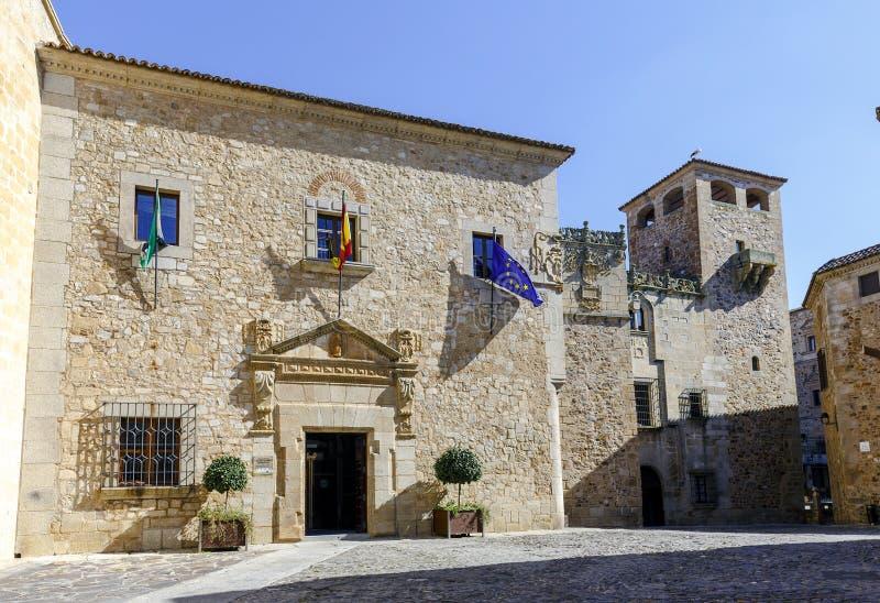 卡塞里斯,西班牙的代表团的宫殿的门面 库存图片