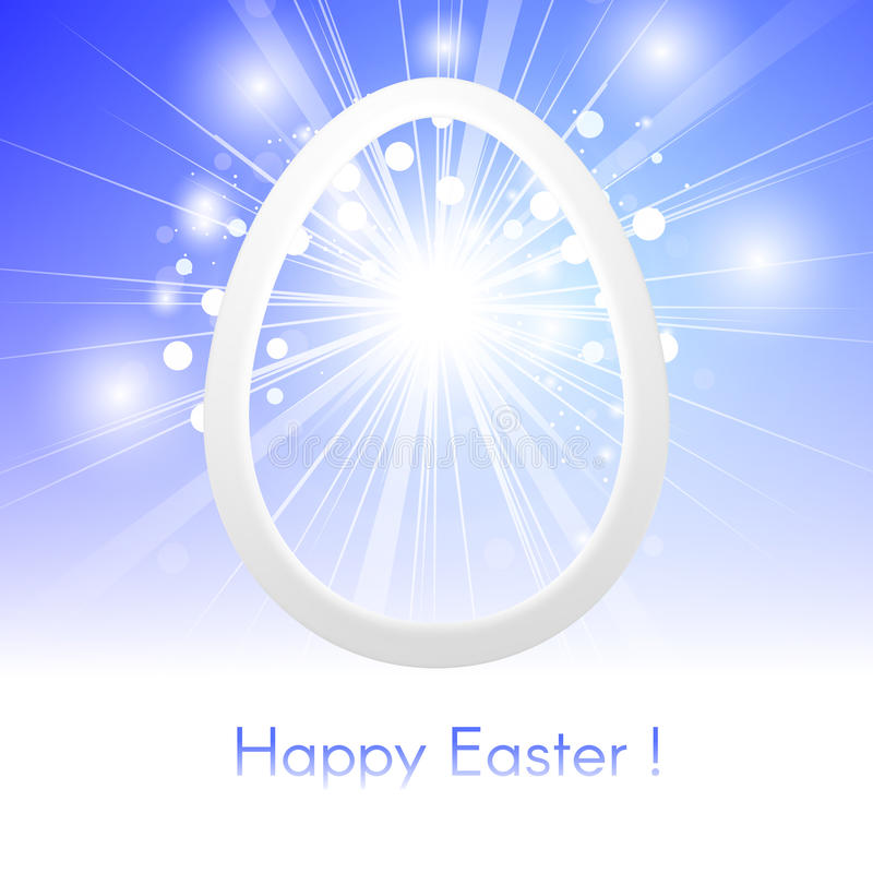 贺卡复活节快乐用在蓝天的复活节彩蛋与镭 向量例证