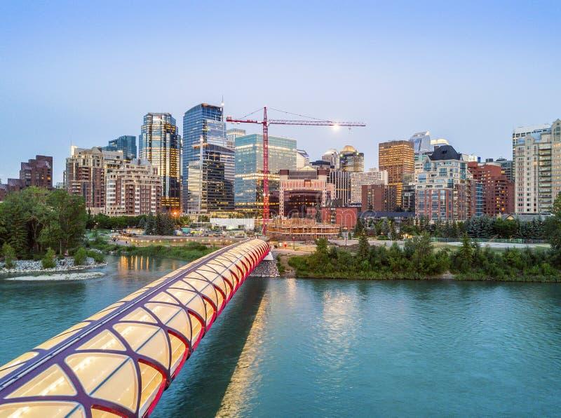 卡尔加里街市与iluminated和平桥梁,亚伯大,加拿大 免版税库存照片
