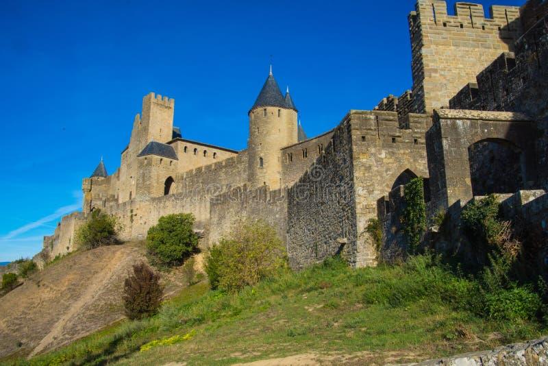卡尔卡松城堡的城楼在法国 库存照片
