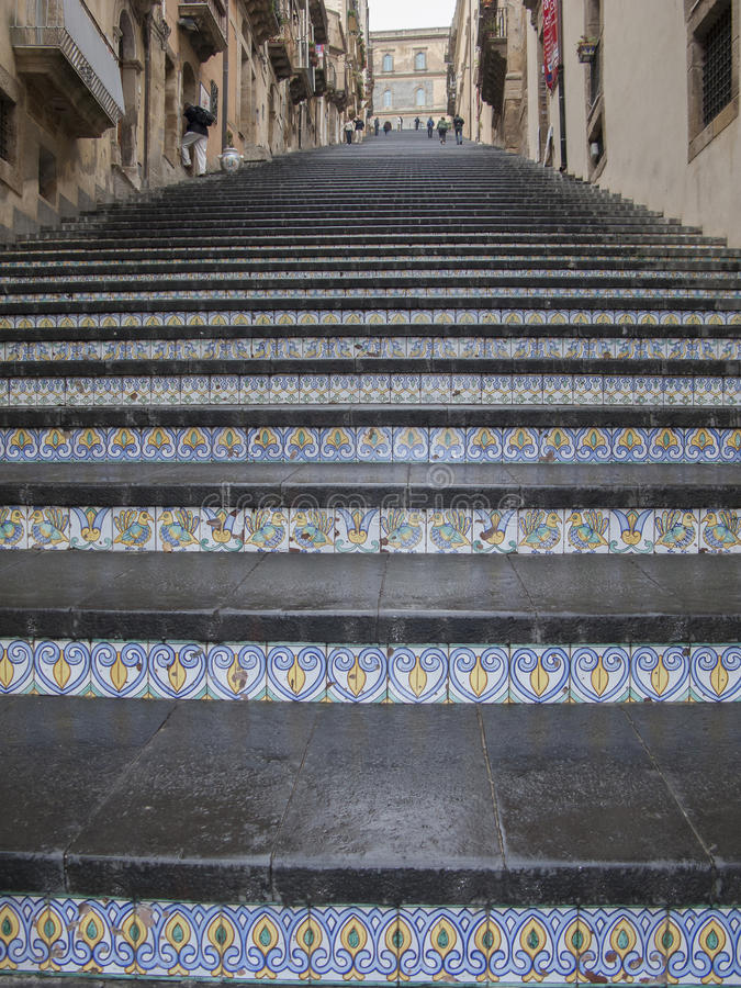 卡尔塔吉龙著名台阶,西西里岛 库存图片