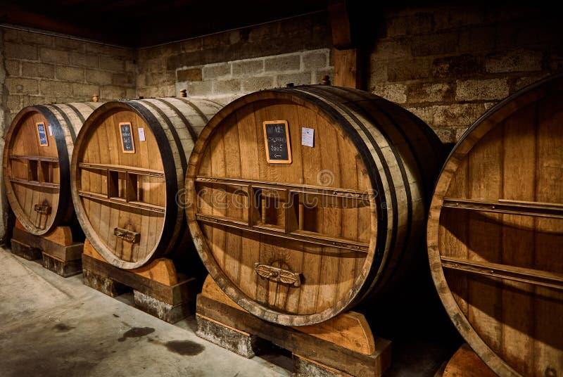 卡尔瓦多斯的老橡木酒桶在地窖里 免版税库存照片