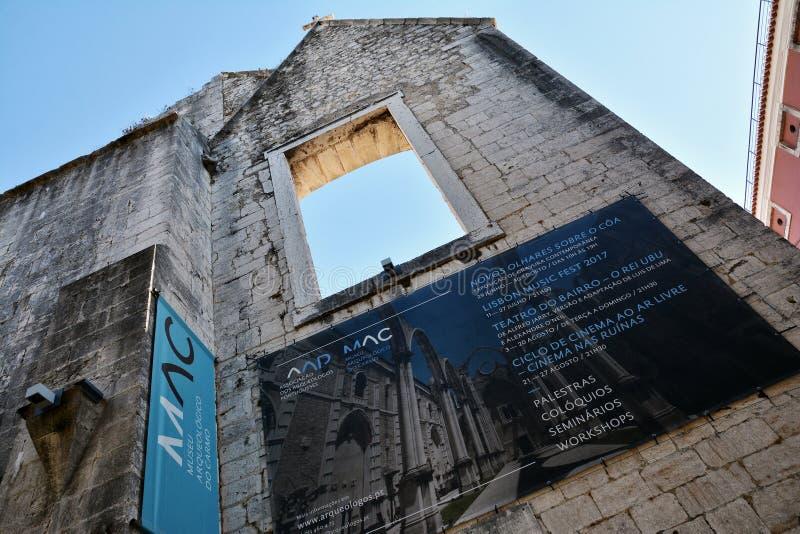 卡尔穆教会和女修道院门面,里斯本 库存照片