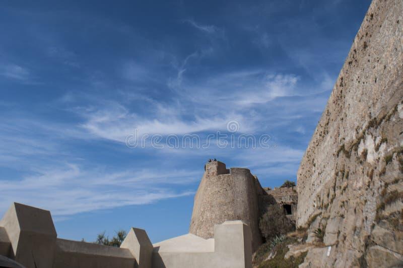 卡尔维,城堡,古老墙壁,地平线,可西嘉岛, Corse,法国,欧洲,海岛 免版税库存图片