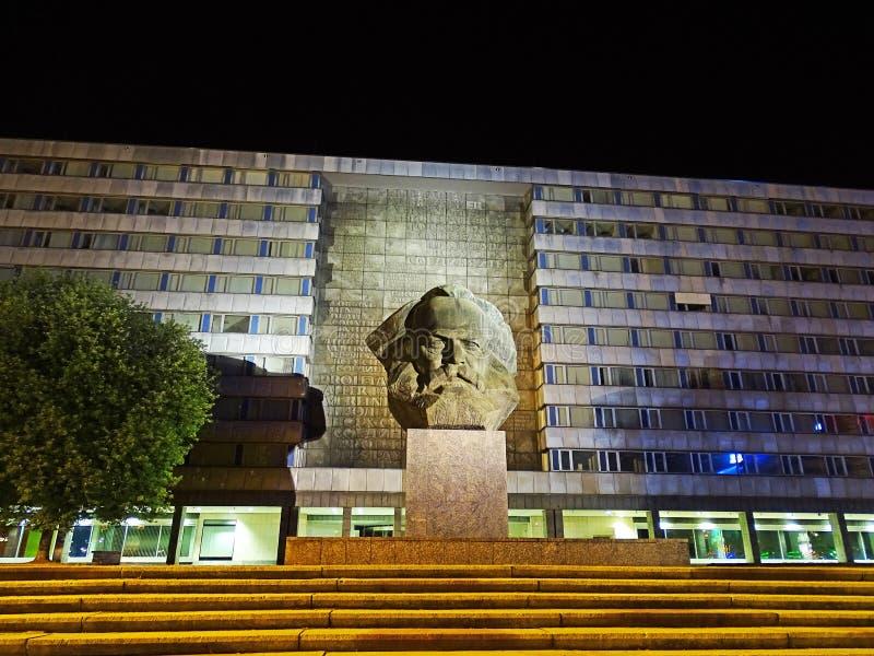卡尔・马克思纪念碑在开姆尼茨(德国) 免版税库存照片