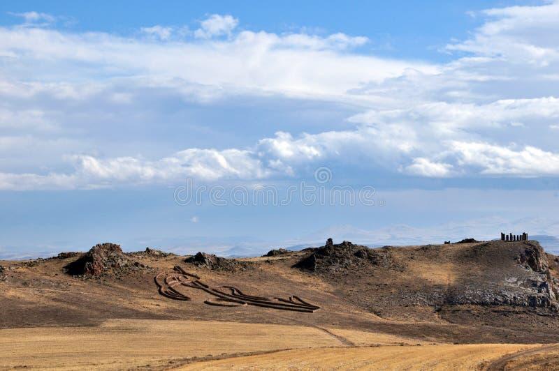 卡帕多克亚的位置 卡帕多西亚谷地石建筑 免版税库存照片