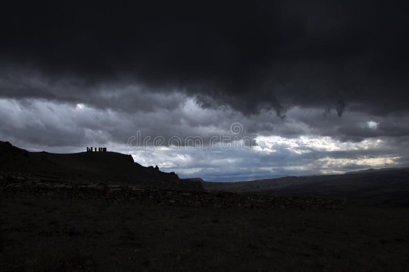 卡帕多西亚山谷雷暴 图库摄影