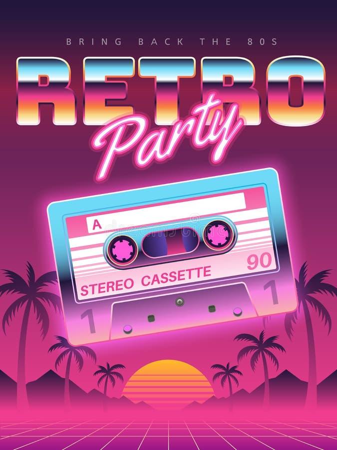 卡式磁带海报 减速火箭的迪斯科聚会80s,90s横幅,葡萄酒卡型盒式录音机俱乐部飞行物,节日邀请盖子 皇族释放例证