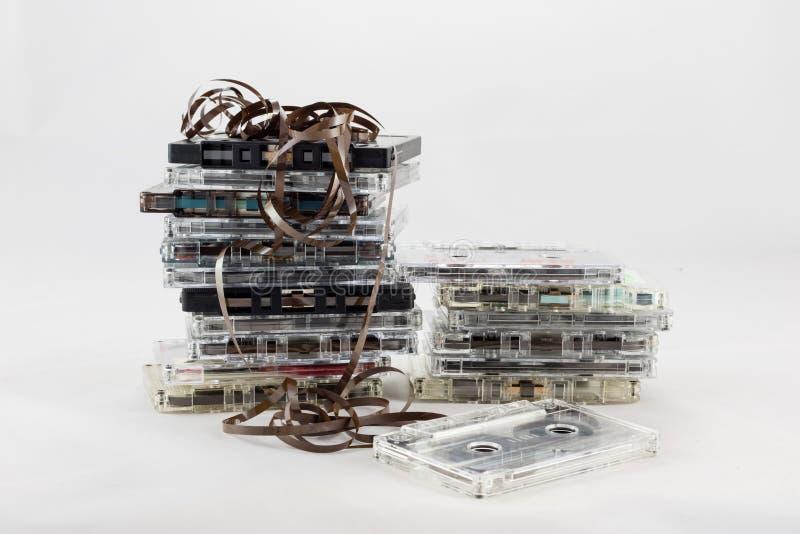 卡式磁带,寻找从20世纪70年代的老片断 免版税库存照片