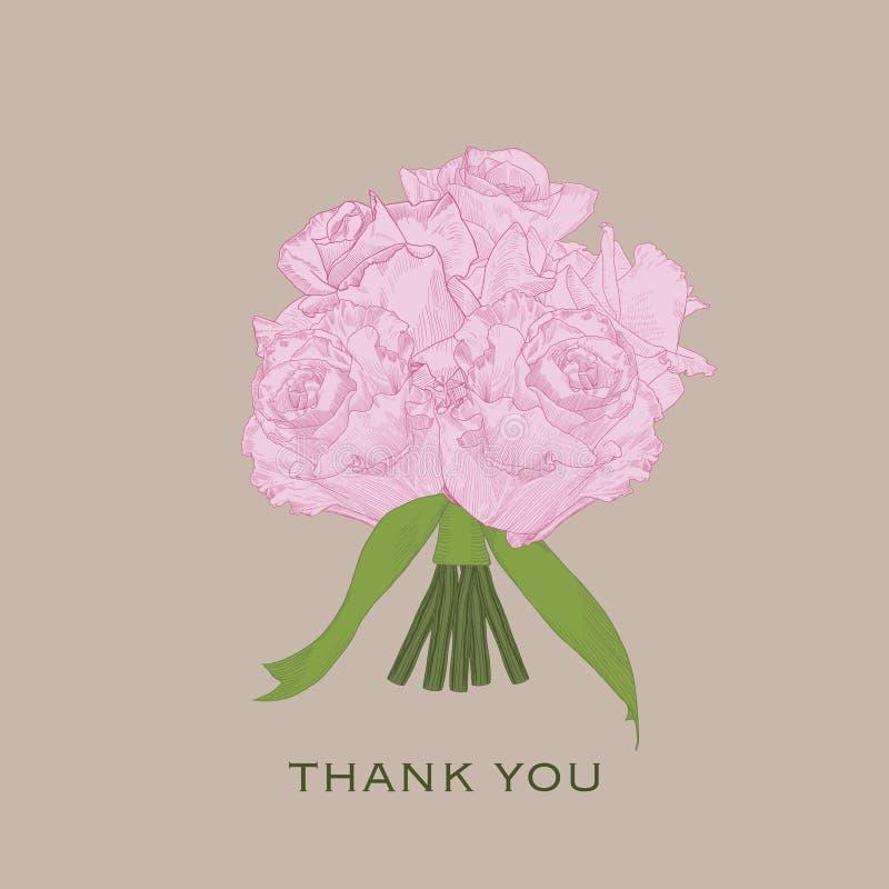 贺卡感谢您有桃红色手拉的玫瑰的 向量例证