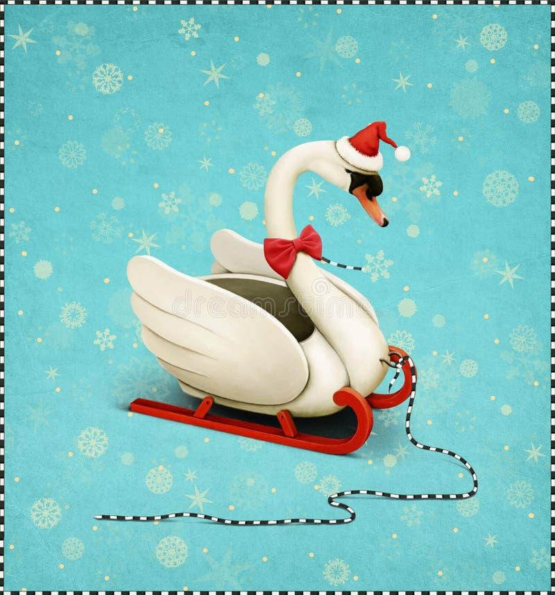 贺卡或海报圣诞快乐或新年快乐 向量例证