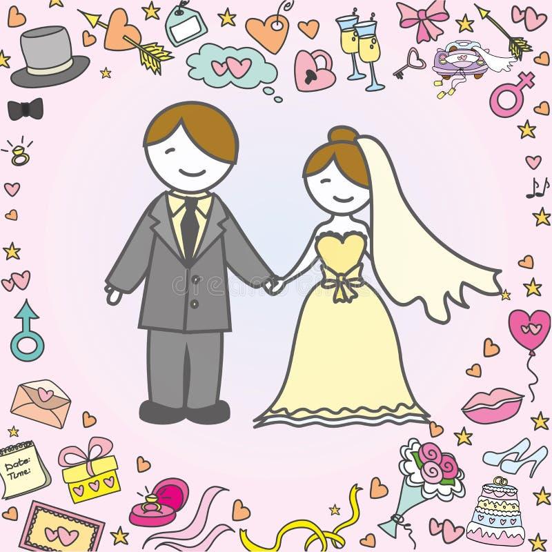 贺卡或背景、新娘和新郎,婚礼 库存例证