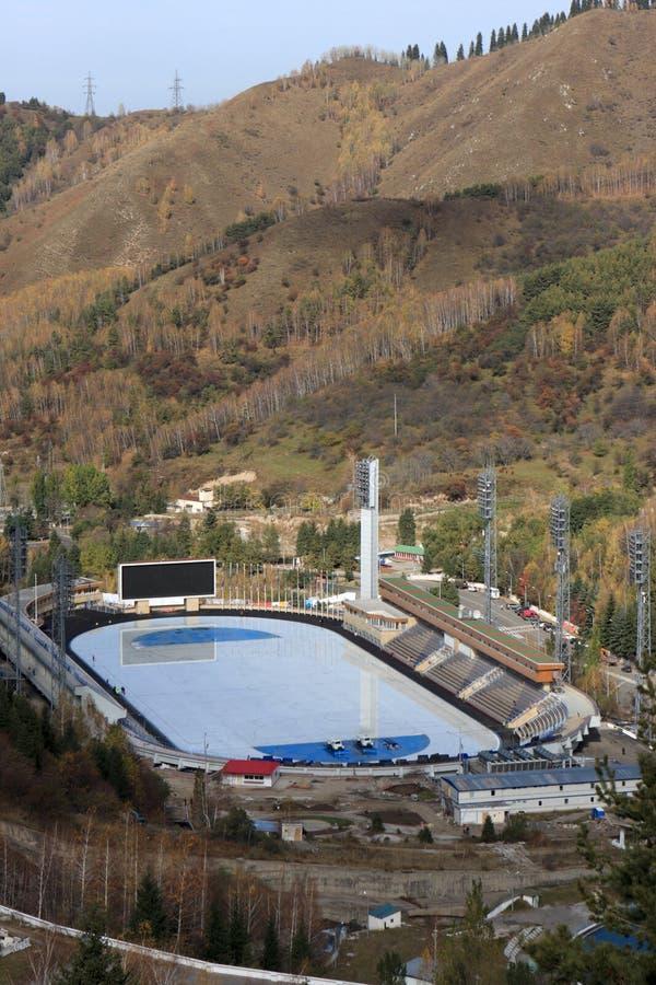 卡扎克斯坦溜冰场滑冰 库存图片