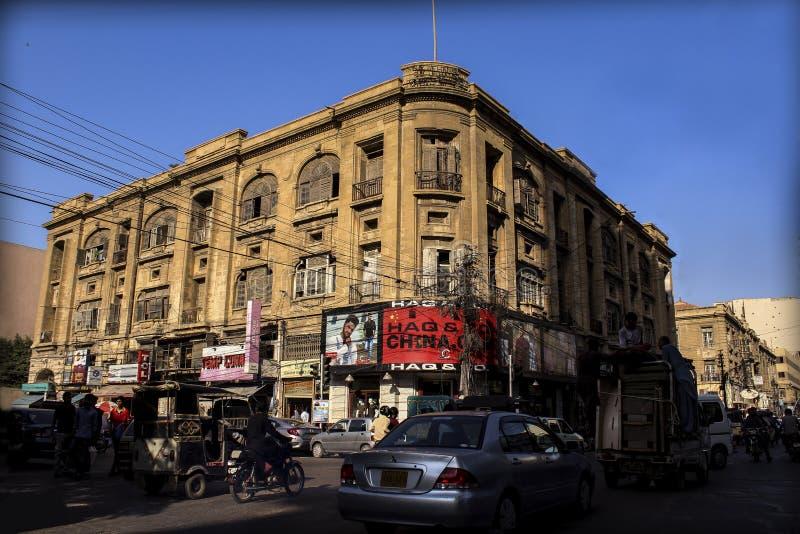 卡拉奇,巴基斯坦- 2019年6月29日:在Saddar,卡拉奇,巴基斯坦附近的著名建筑学大厦 库存图片