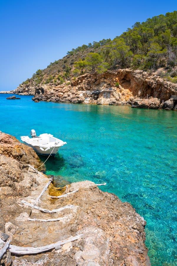 卡拉市伊维萨岛Xuclar在桑特霍安Balearics 免版税库存照片